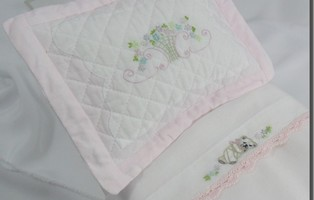 Doll Bed Sheet Embroidered Bear and Basket