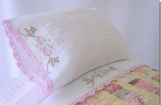 Doll Sheet Set Birds and Bow