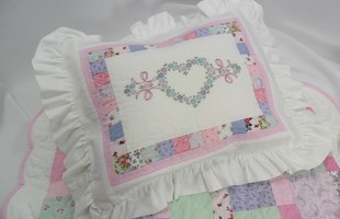 Doll Pillow Sham with embroidered heart
