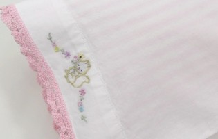 Doll Sheet Set Embroidered Squirrel